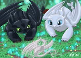 Toothless and Fargo smaller signed