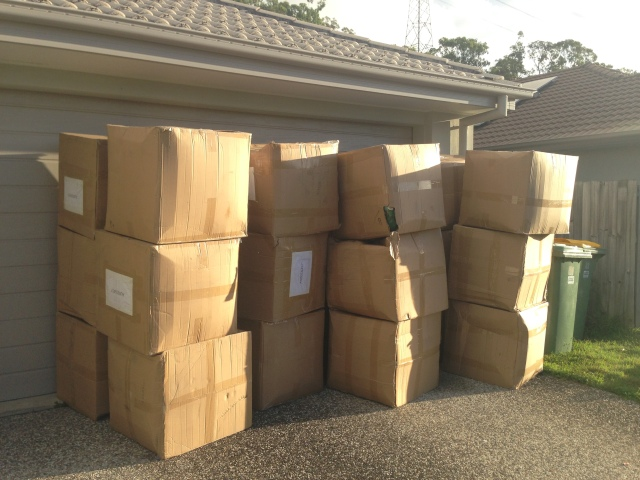 Plushie Boxes on the Driveway